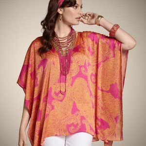 Chico's Large / X-Large Paisley Poncho Caftan TOP